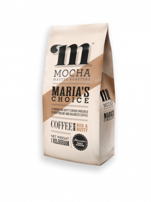 """Image of customer coffee pack of 1kg Maria's Choice """"RICH & NUTTY"""" blend with Mocha Master Roasters logo and light brown diagonal stripe design. The coffee pack has the companies family history, a description of the coffee blend composition from the various coffee growing origins. The strength and flavour of the coffee with milk and as a black coffee."""