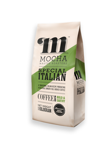 """Special Italian blend """"BOLD & EARTHY"""" 1kg pack with Mocha Master Roasters logo and green diagonal stripe design"""