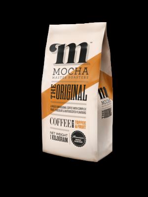 "The Original blend ""TOFFEE & FRUIT"" 1kg packwith Mocha Master Roasters logo and orange diagonal stripe design"