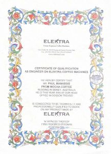 Certificate of qualification issued to Paul Mannassis by Federico Fregnan. The Fregnans were the original founders of Elektra espresso machines in Treviso Italy.
